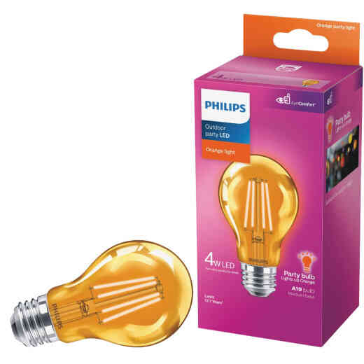 Philips Orange A19 Medium 4W Indoor/Outdoor LED Decorative Party Light Bulb