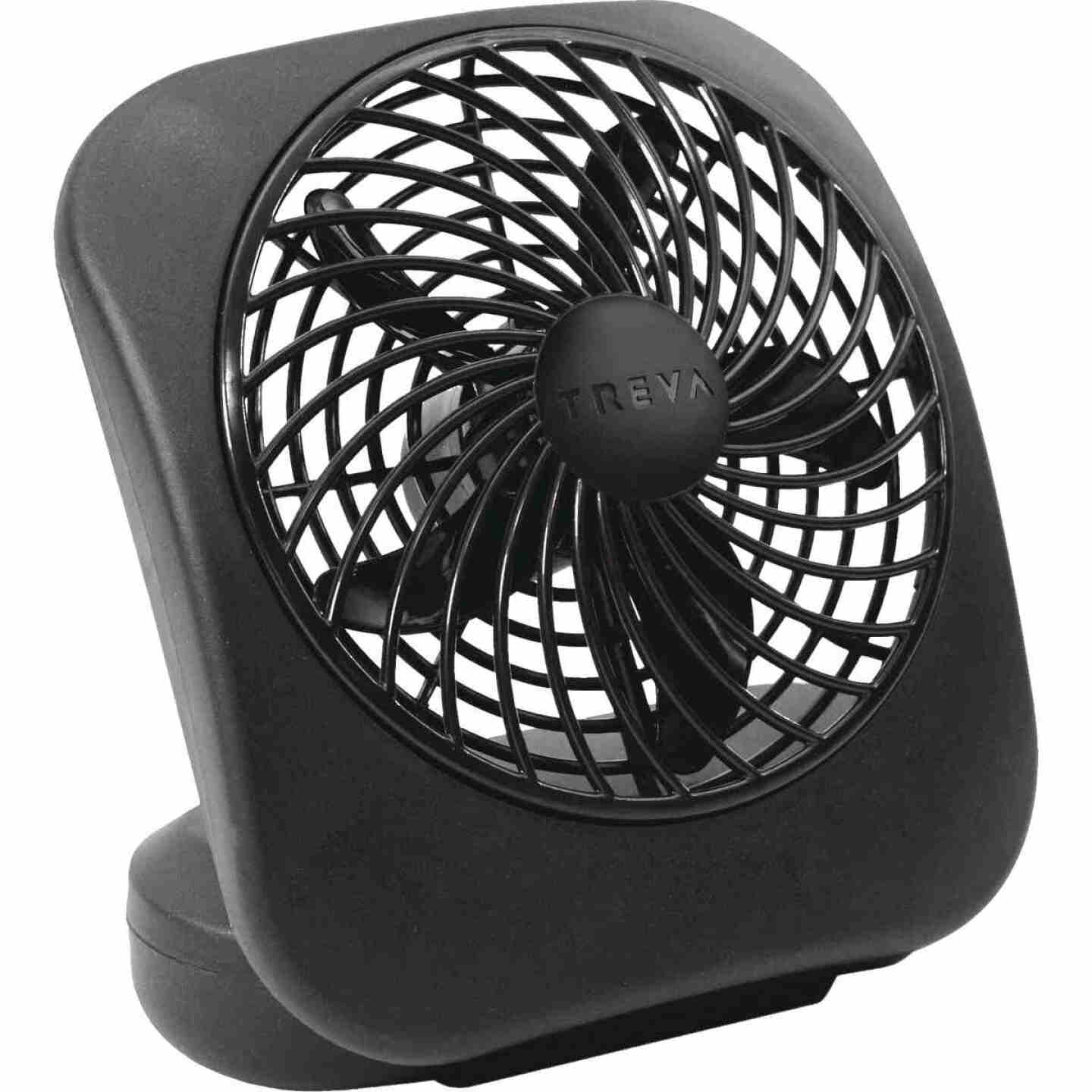 Treva 5 In. 2-Speed Black Battery Operated Table Fan Image 1