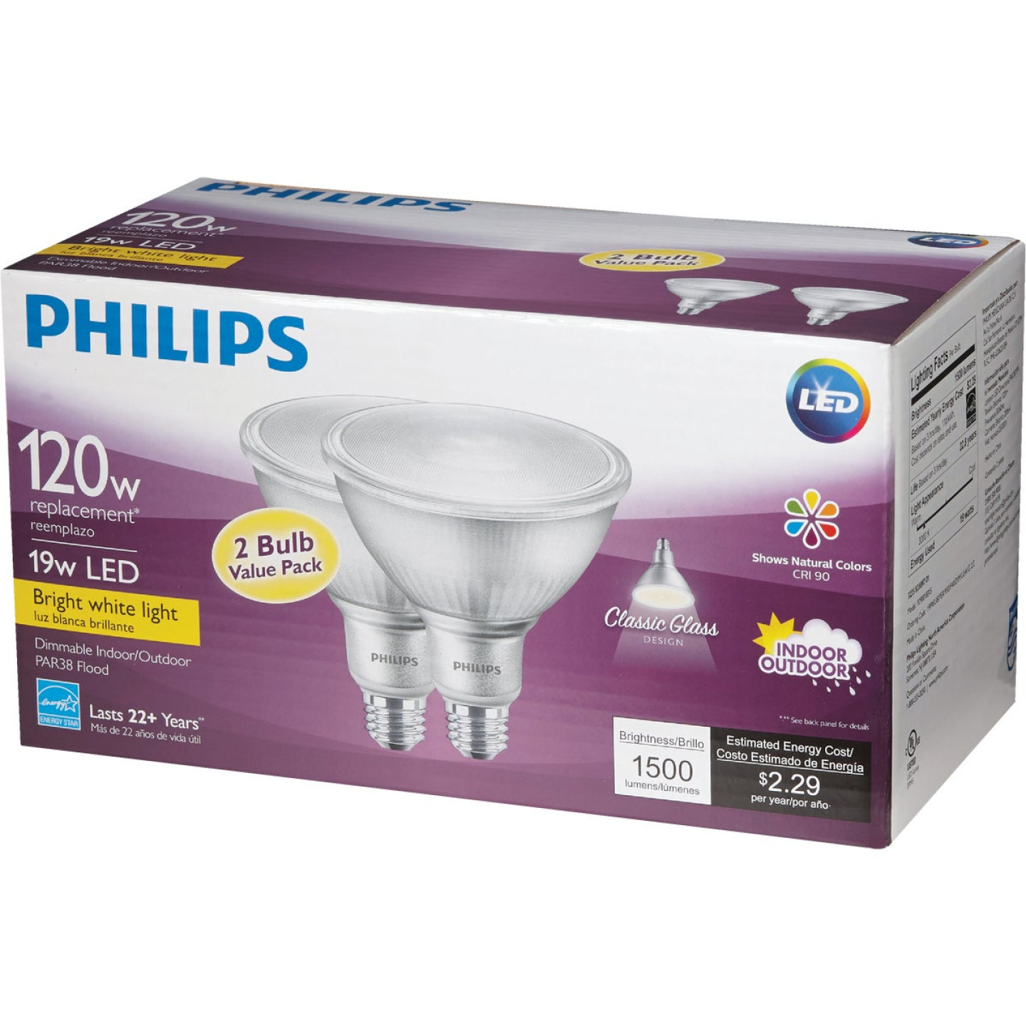 Philips 120W Equivalent Bright White PAR38 Medium Indoor/Outdoor LED Floodlight Light Bulb (2-Pack) Image 5