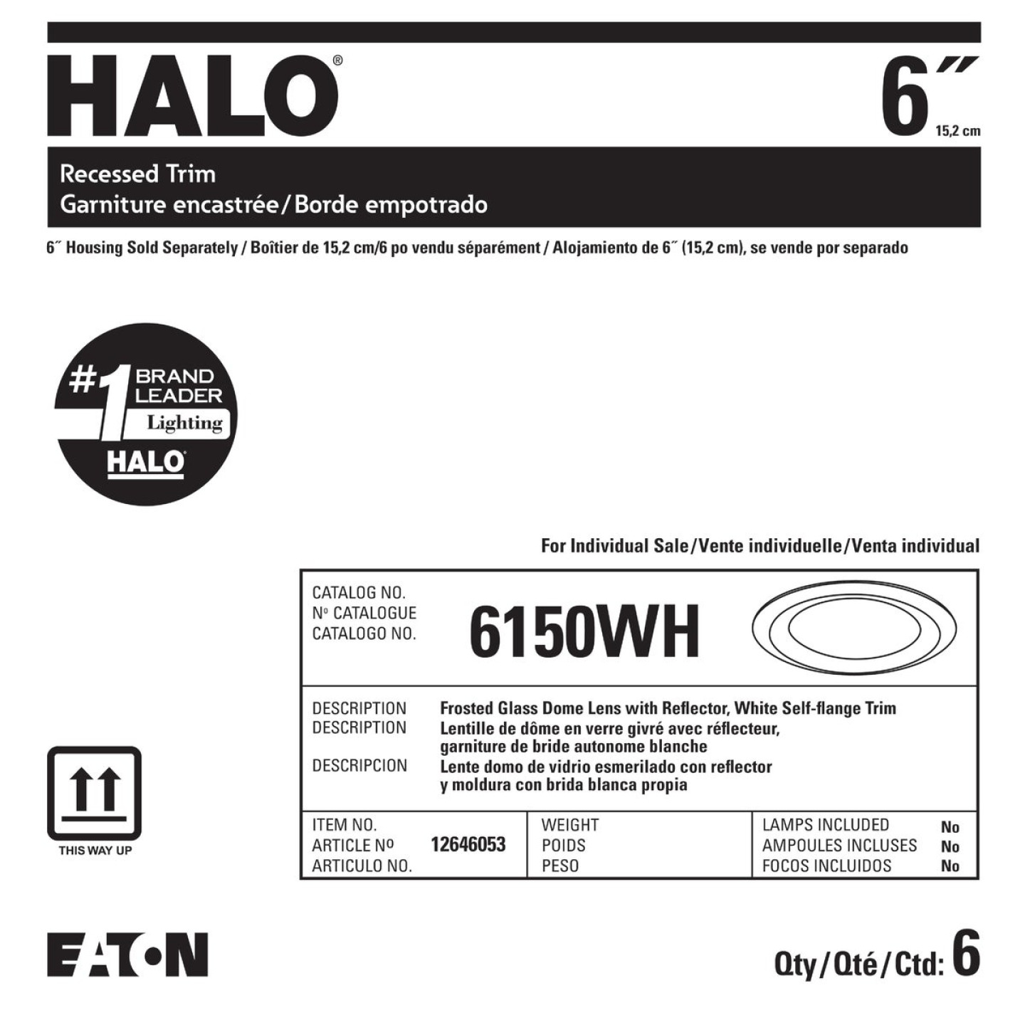 Halo 6 In. White Disc Frosted Glass Lens Recessed Light Fixture Trim Image 2