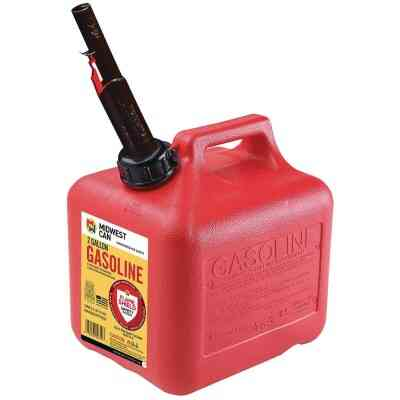 Midwest Can 2 Gal. Plastic Auto Shut-Off Gasoline Fuel Can, Red