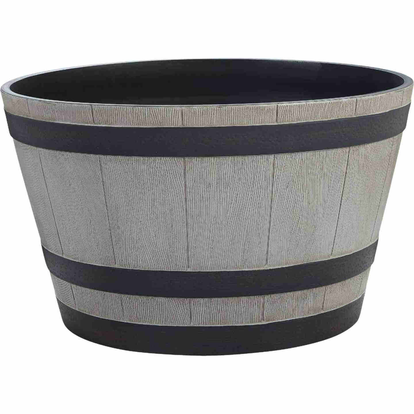 Southern Patio 13-1/2 In. H. x 22-1/2 In. Dia. Birchwood High-Density Resin Traditional Whiskey Barrel Planter Image 1