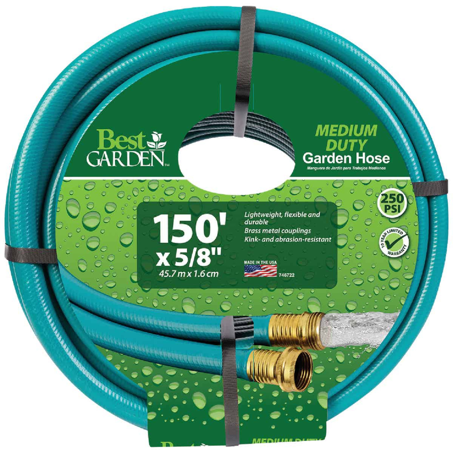 Flexon 5/8 In. Dia. x 150 Ft. L. Medium-Duty Rubber & Vinyl Garden Hose W/Guard-N-Grip Image 1