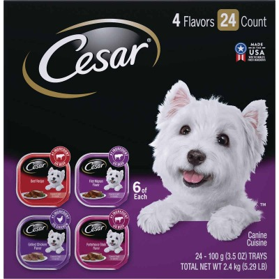 Cesar Classic Loaf Beef/Filet Mignon/Grilled Chicken/Porterhouse Steak Variety Adult Wet Dog Food (36-Pack)