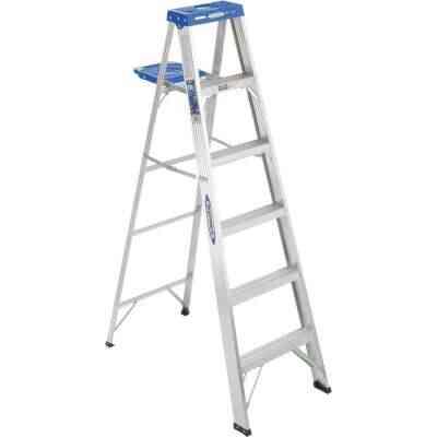 Werner 6 Ft. Aluminum Step Ladder with 250 Lb. Load Capacity Type I Ladder Rating