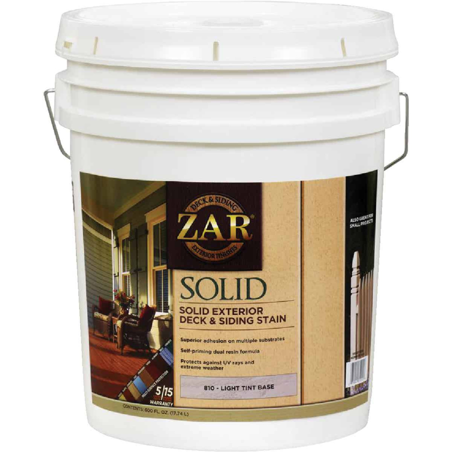 ZAR Solid Deck & Siding Stain, Light Tint Base, 5 Gal. Image 1