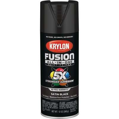Krylon Fusion All-In-One Satin Spray Paint & Primer, Black