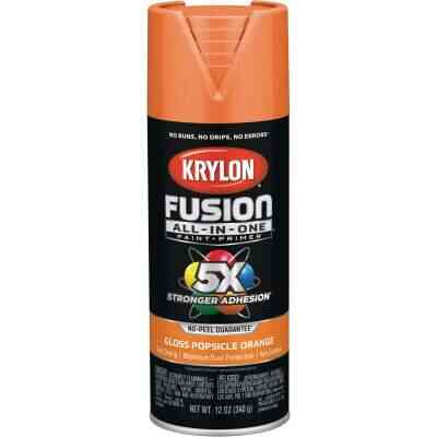 Krylon Fusion All-In-One Gloss Spray Paint & Primer, Popsicle Orange