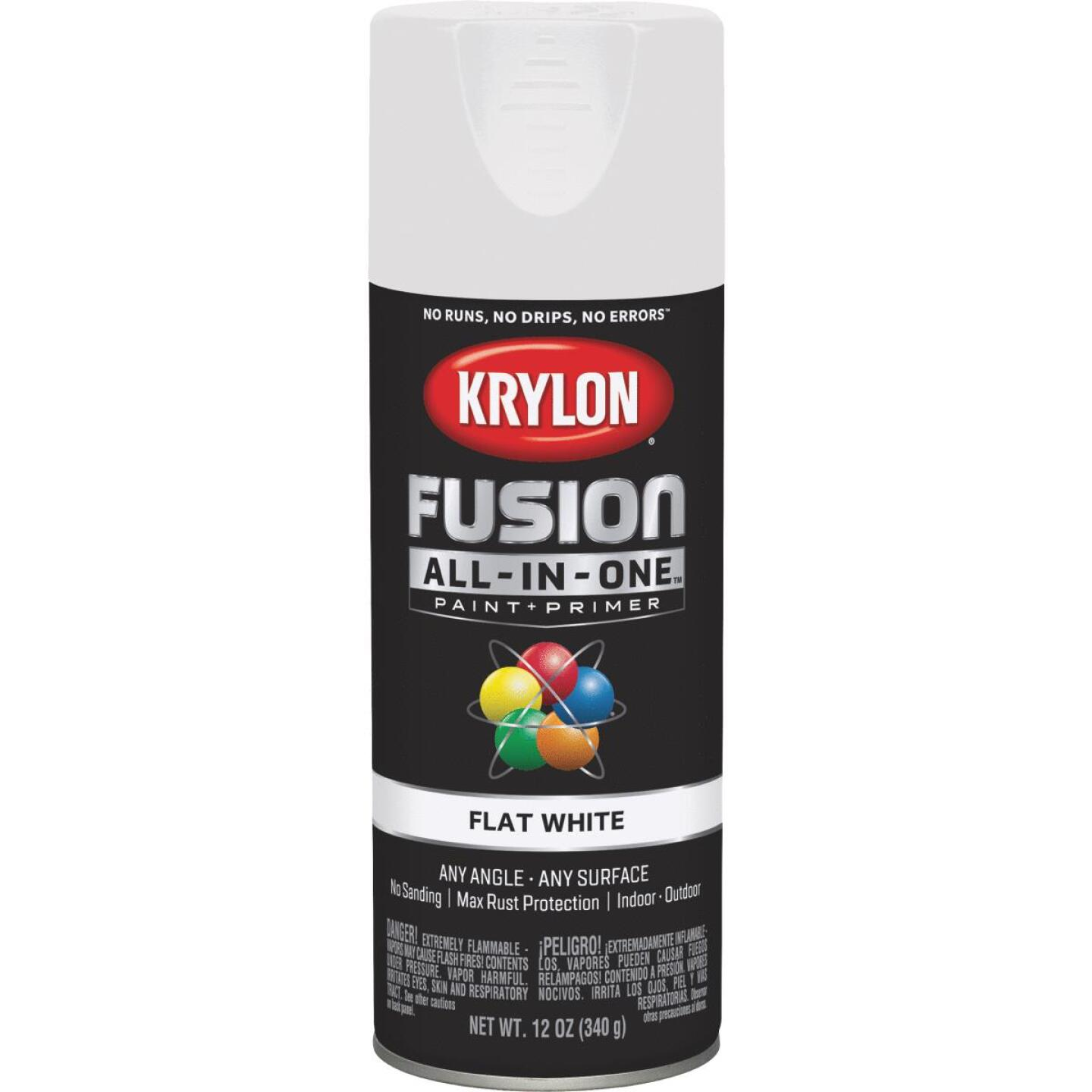 Krylon Fusion All-In-One Flat Spray Paint & Primer, White Image 1