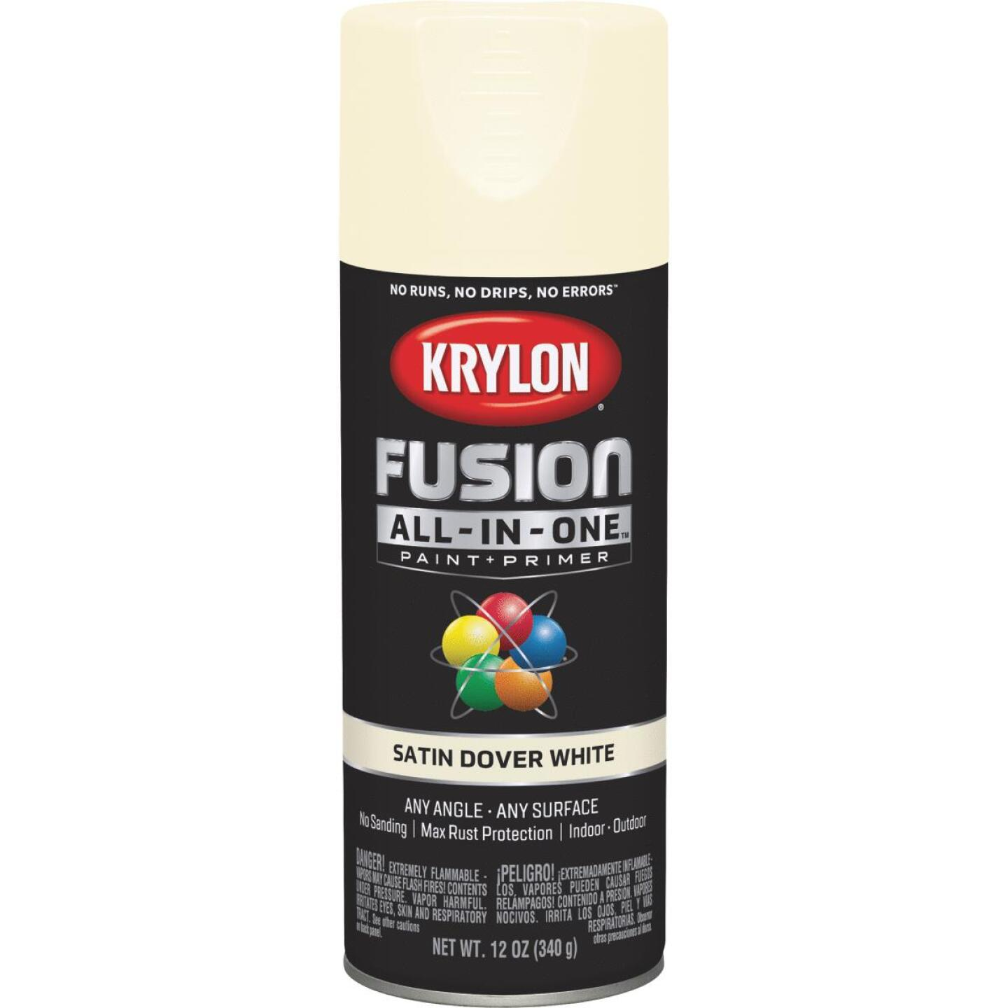 Krylon Fusion All-In-One Satin Spray Paint & Primer, Dover White Image 1
