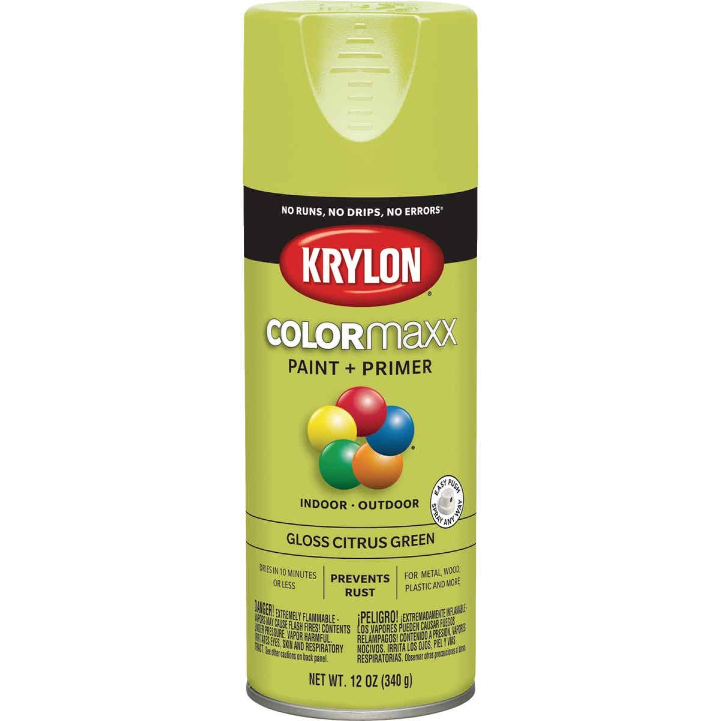 Krylon Colormaxx Gloss Spray Paint & Primer, Citrus Green Image 1