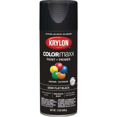 Krylon Colormaxx Semi-Flat Spray Paint & Primer, Black