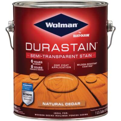 Wolman DuraStain One Coat Semi-Transparent Wood Exterior Stain, Natural Cedar 1 Gal.