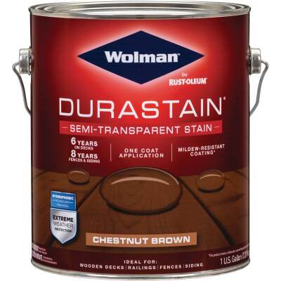 Wolman DuraStain One Coat Semi-Transparent Wood Exterior Stain, Chestnut Brown 1 Gal.