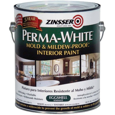 Zinsser Perma-White White-Tintable Eggshell Gallon Mildew Paint
