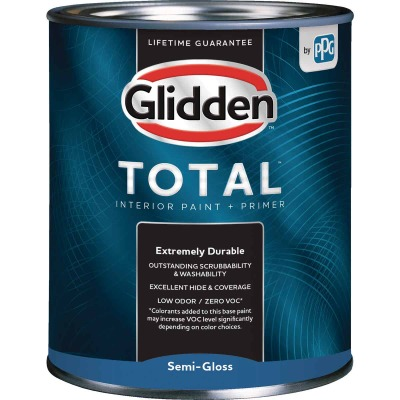 Glidden Total Interior Paint + Primer Semi-Gloss Midtone Base Quart