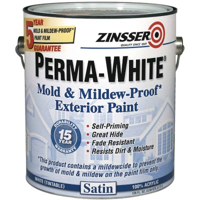 Zinsser Perma-White White-Tintable Satin Gallon Mildew Paint