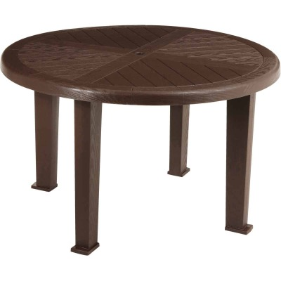 Brentwood 48 In. Round Brown Resin Table