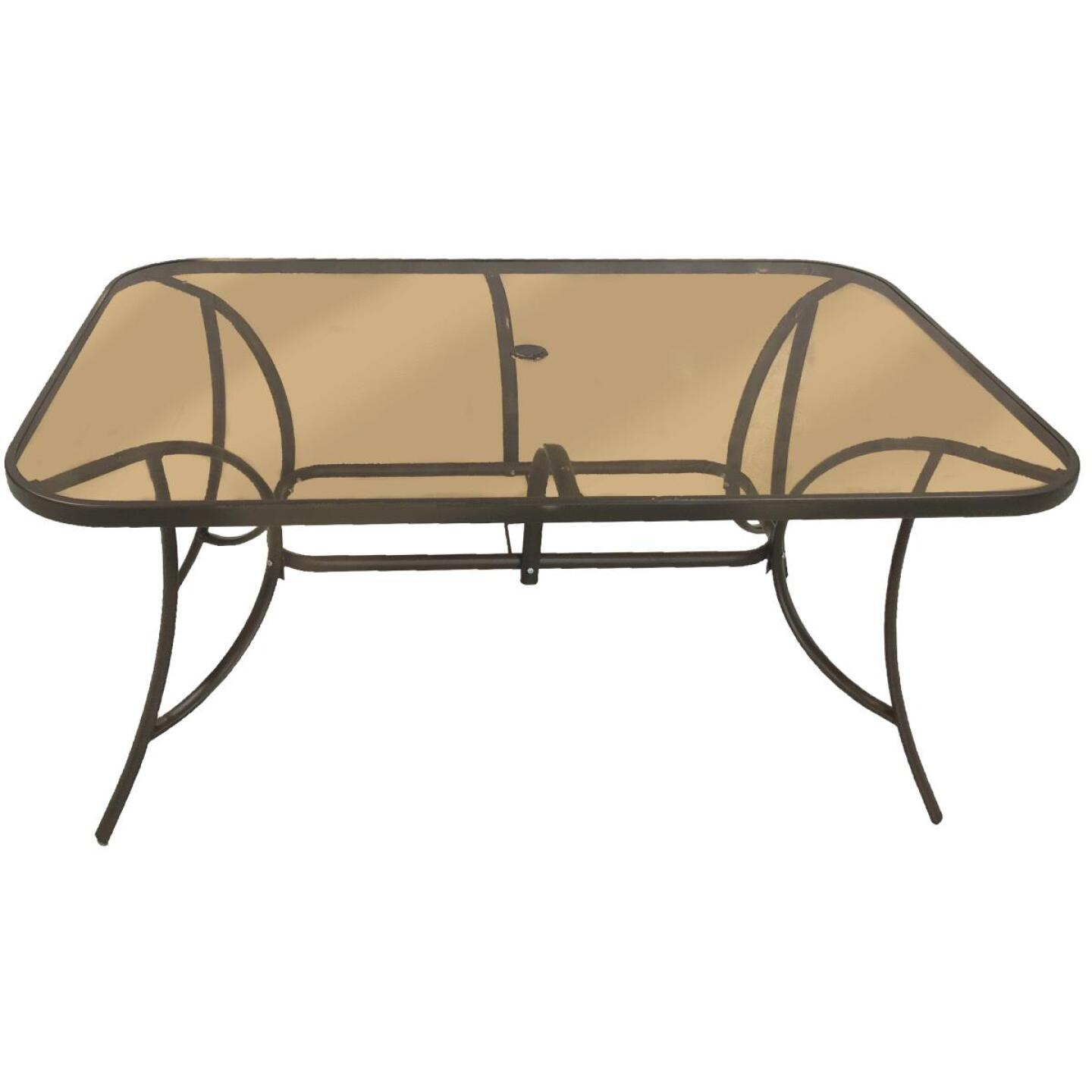 Outdoor Expressions Greenville 38 In. W. x 60 In. L. Rectangle Brown Steel Tinted Glass Table Image 1
