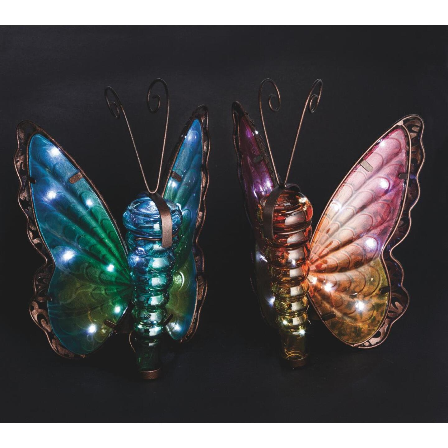 Outdoor Expressions 8 In. W. x 11.25 In. H. x 7 In. D. Butterfly Solar Light Image 1