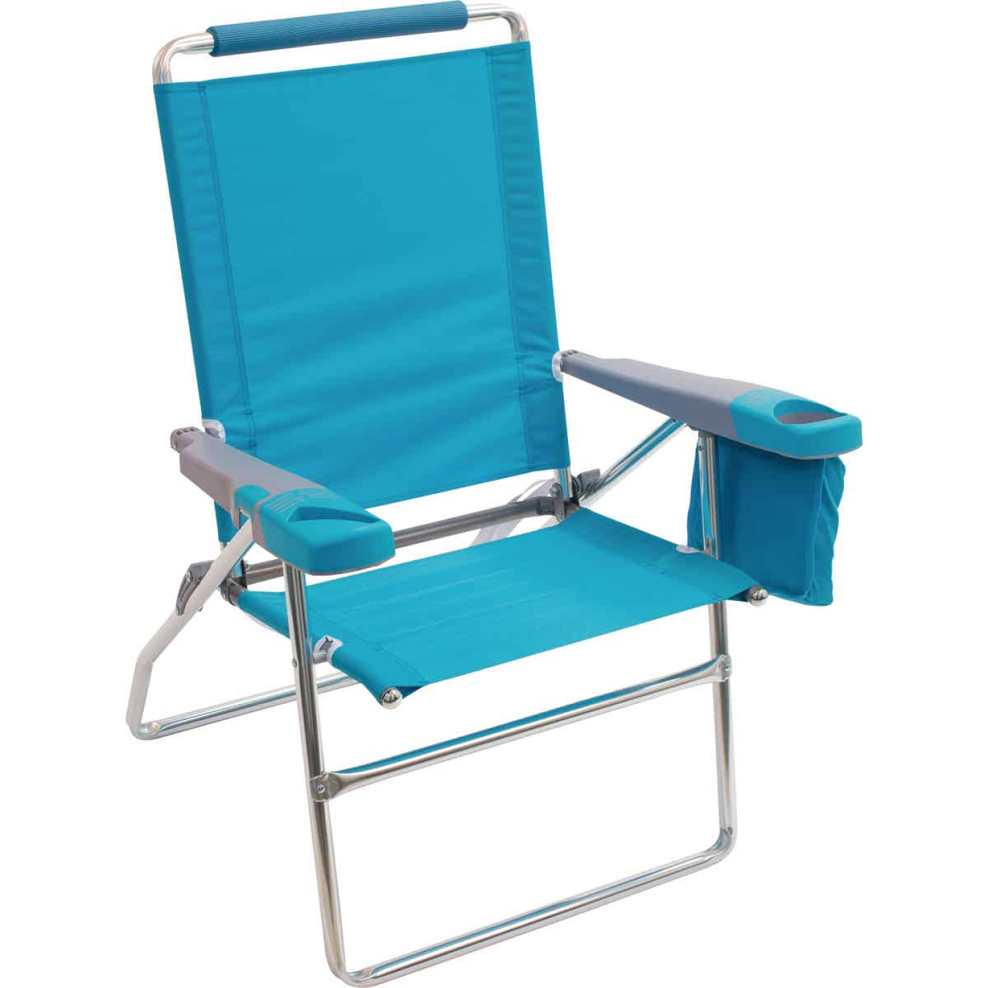Rio Brands 4-Position Aluminum Folding Beach Chair with Cooler Image 1