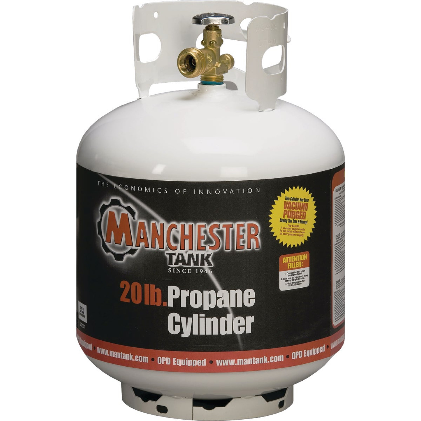 Manchester Tank and Equipment 20 Lb. Capacity Steel DOT Vertical LP Pre-Purged Propane Tank Image 1