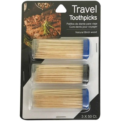 Jacent 50 Per Tube Travel Toothpicks (3-Pack)